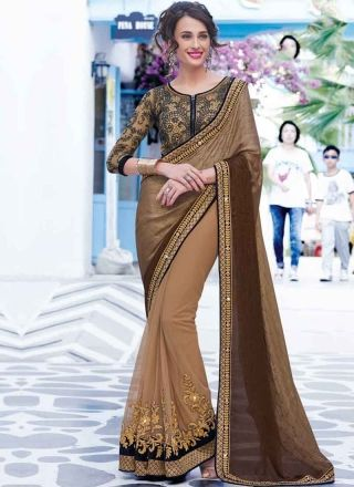 Shaded Chiku Brown Cord Embroidery Work Net Chiffon   Designer Sarees http://www.angelnx.com/Sarees/Designer-Sarees