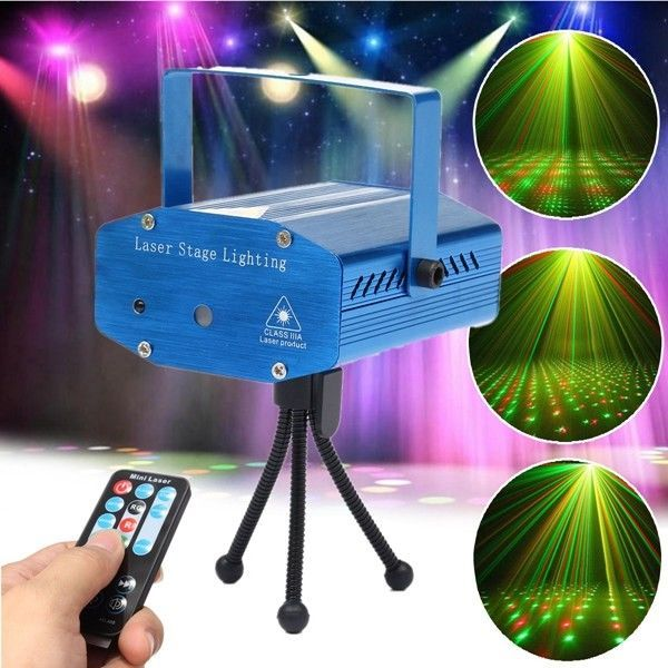 LED Laser Stage Light Projector Mini Auto Voice Control With Remote Xmas Party #Doesnotapply
