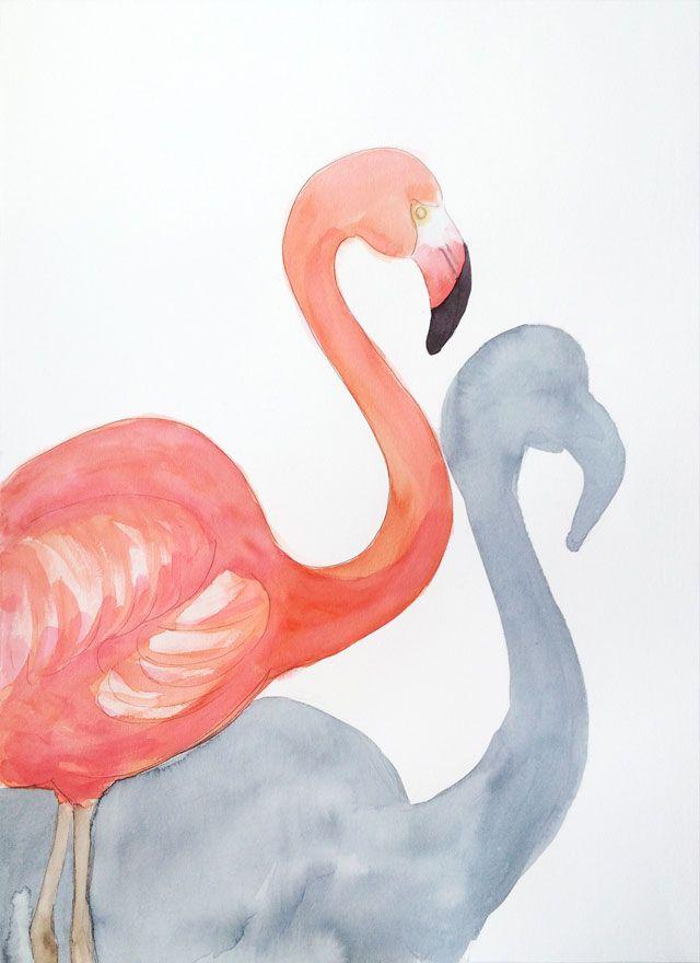 Acuarela Flamenco Serie Animales G 50x70 - Elena Calonje, Arte e Ilustracion | Art and Illustration