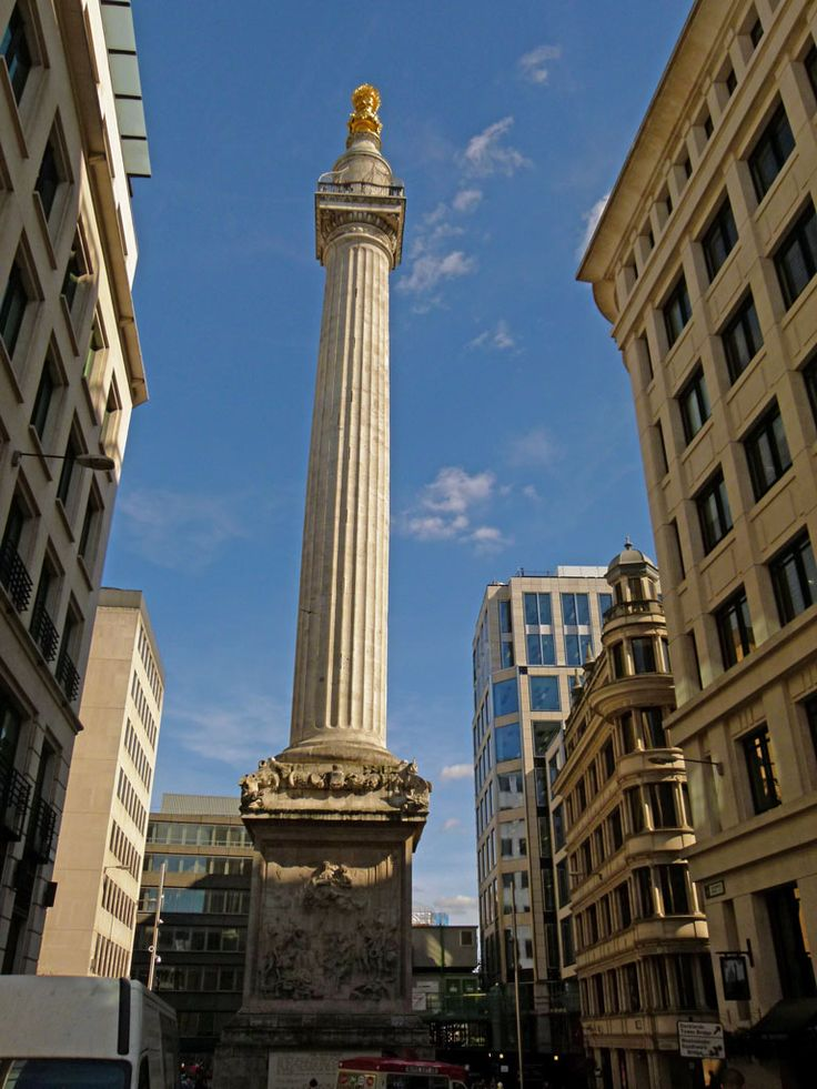 The Monument to the Great Fire of London on Fish Street Hill, close to London Bridge.