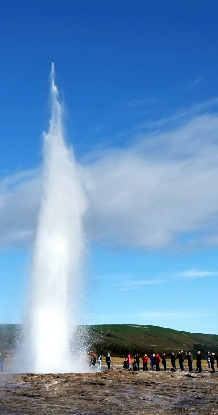 Strokkur geyser located in Golden Circle in Iceland. One of Iceland's most famous geysers, erupting once every 6–10 minutes. Must visit places in Iceland, Iceland must see, Iceland travel, Iceland bucket list, what to see in Iceland, where to go in Iceland, Iceland Golden Circle, geothermal area Iceland, Geysir Iceland