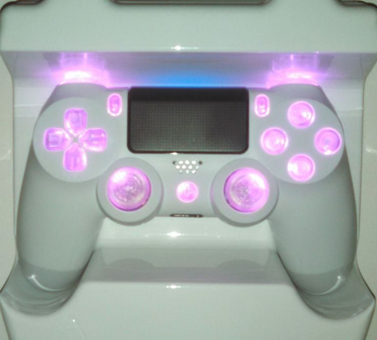 White PS4 Controller Personalized Pink LED Mod [Strong