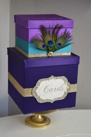 Peacock Wedding card box Ombre Purple and gold by ForeverLoveNotes, $110.00