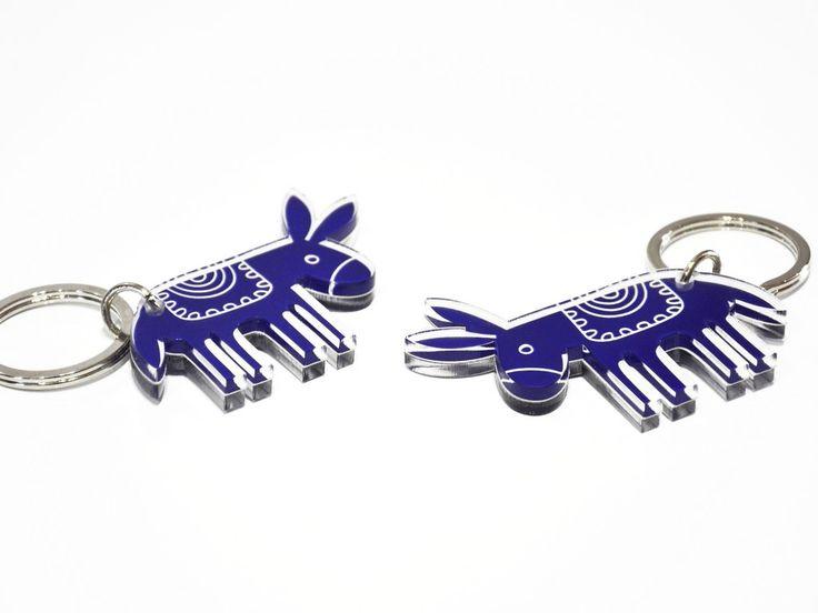 Donkey | Two sided plexiglass keychain screenprinted & lazer cutted | 7,2 x 5,6 x 0.8 cm