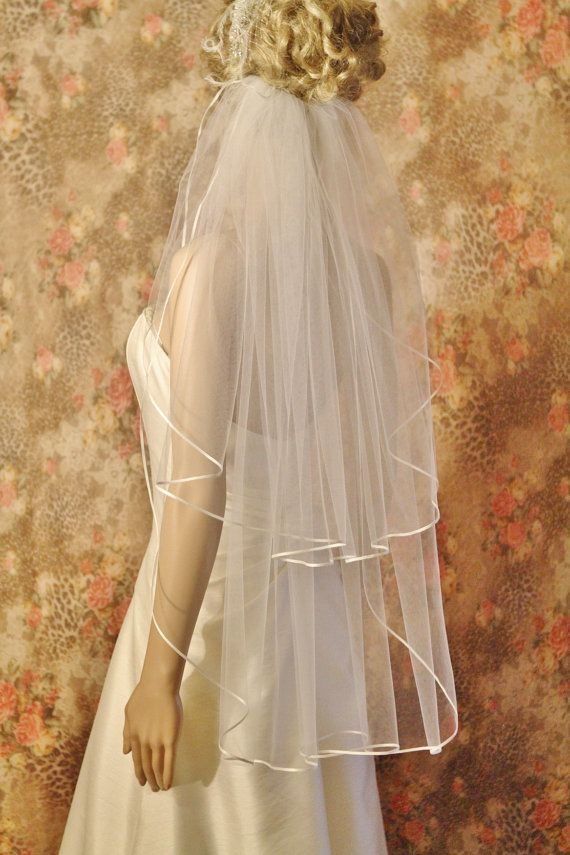 ON SALE, FINGERTIP Veil, waltz veil length 2 tier Ribbon Edge, Satin Edge