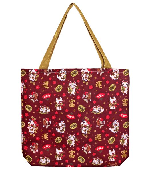 Luck and wealth are always welcome! Maneki neko is a knowing little feline that beckons money and fortune into your presence. This durable canvas tote bag is a