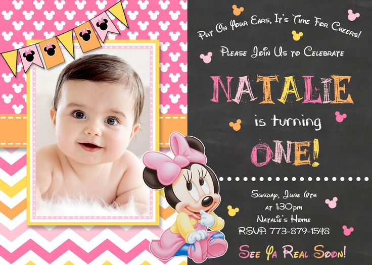 163 best Minnie Mouse Birthday Invitations and party supplies