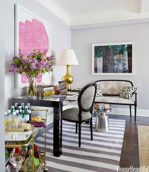 Think double duty: When entertaining, this desk is used as a dining table.