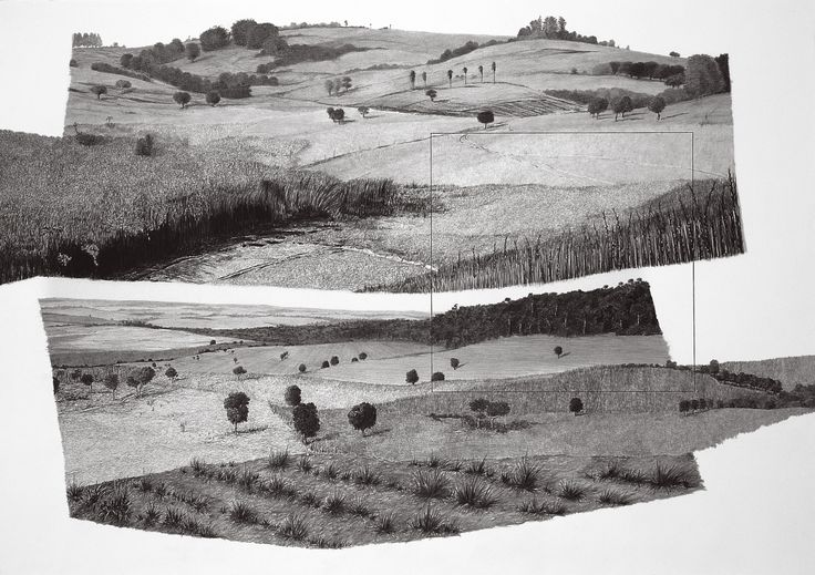 "francisco faria - ""refiguration on pontal do paranapanema 1"", 1999. graphite on paper, 70 x 100 cm."