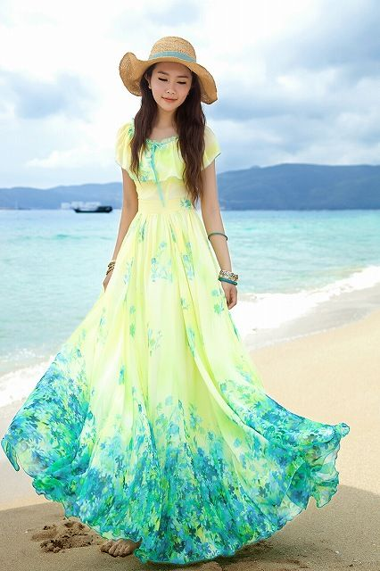 淡いイエローのワンピ風☆ キュートなロング♪ - ロングドレス・パーティードレスはGN|演奏会や結婚式に大活躍!