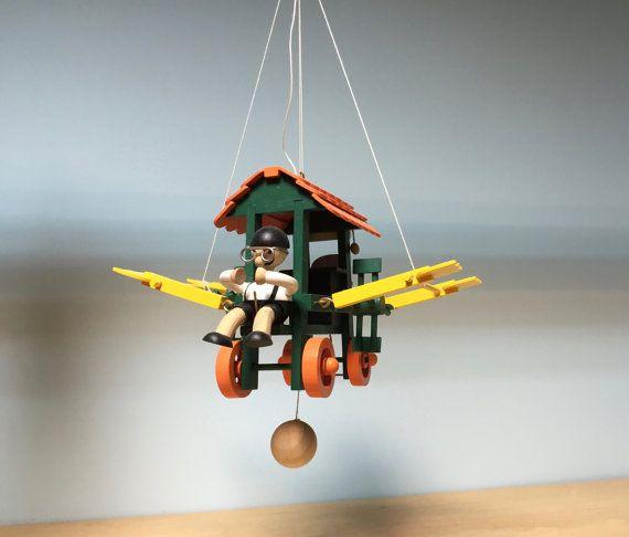 Wooden hanging mobile flying housewooden mobilehanging room