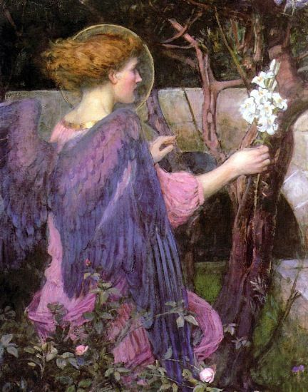 The Annunciation, by John William Waterhouse (English, 1849-1917)                                                                                                                                                                                 More