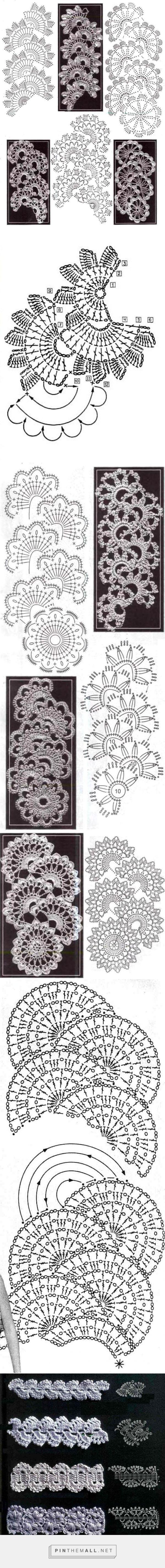 Floral crochet lace tape ~~ Ленточное кружево - вязание крючком на http://kru4ok.ru/lentochnoe-kruzhevo/