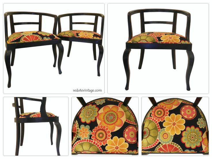 This old pair of accent chairs have been reupholstered with a cotton psychedelic fabric and got a grand new look! Painted first in glossy black, they now boost new jute webbing, stuffing and of course the trendy colorful fabric. Finishing touches include double welt piping made with the same fabric used on the chairs. The chair seats are intentionally different.