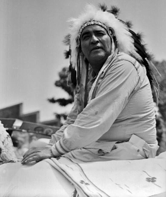 Robert Goombi (the husband of Bessie Vergus Archambeau-Goombi) during the American Indian Exposition Parade in Anadarko, Oklahoma - Kiowa - 1959