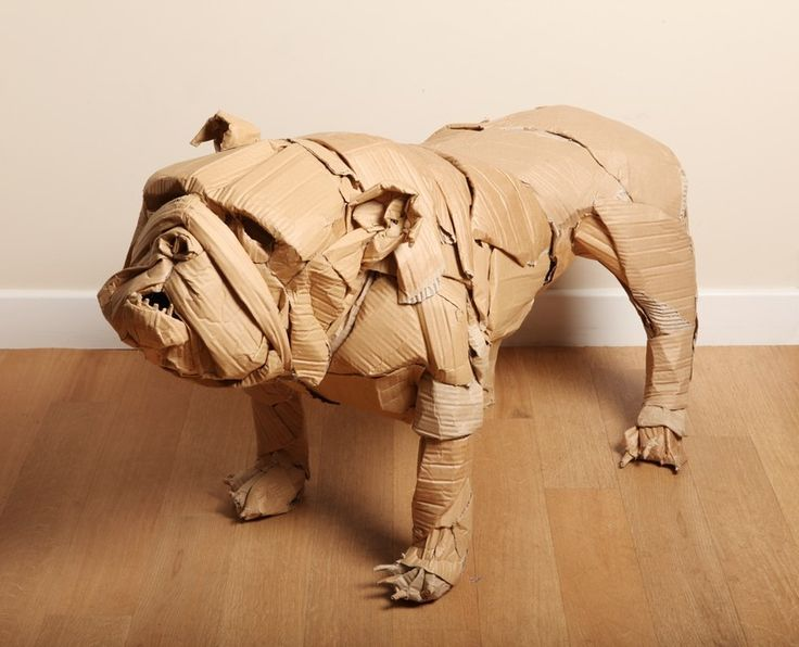 Dogs in Art at the StockBridge Gallery - Waste Note Want Not, Cardboard Bulldog Sculpture by Dominic Gubb, £495.00 (http://www.dogsinart.com/waste-note-want-not-cardboard-bulldog-sculpture-by-dominic-gubb/)
