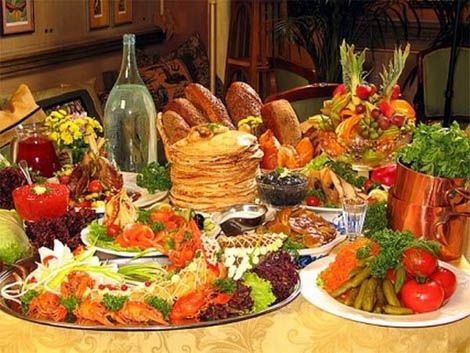 Banquets in Russia take a very important place.It can be on occasions and without any reasons in simple day.Usually woman is preparing more than 10 dishes.For starter it is usually cooked salad Olivie,beet with herring and caviar with bread.For second dish Russian people usually cook Borsh,Golybzi,Pirogy and others.The most common desert is cake Napoleon.