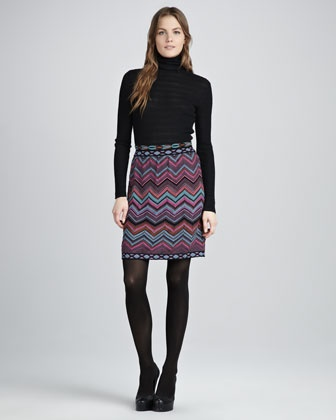 Ribbed Turtleneck Sweater & Large-Zigzag Skirt by M Missoni at Neiman Marcus.: Fall Winter Fashion, Skirts, Sweater Skirt, Large Zigzag Skirt