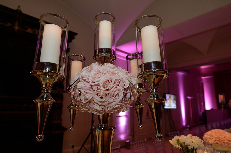 Candles and roses by Hayford and Rhodes at Kent House Knightsbridge Agency Dinner 2014