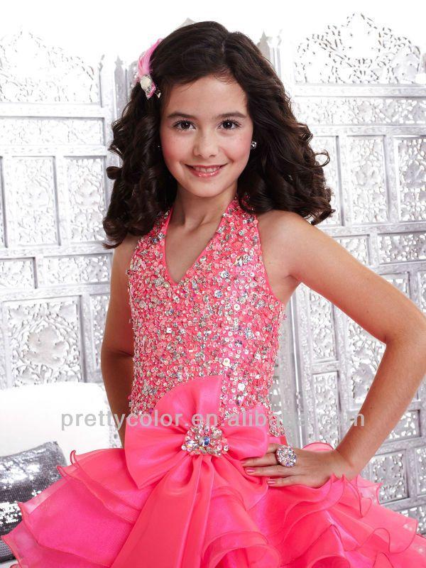 2013 с бантом передняя холтер розовый блестками верхняя часть тела бальное платье красивое платье девушка конкурс красоты платья купить на AliExpress