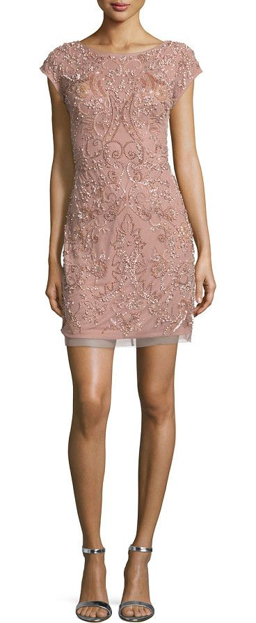 """On SALE at 66% OFF! Cap-sleeve beaded cocktail dress by Aidan Mattox. Aidan Mattox beaded mesh cocktail dress. Approx. 19"""" to 19. 8""""L from waist to hem. Boat neckline;..."""