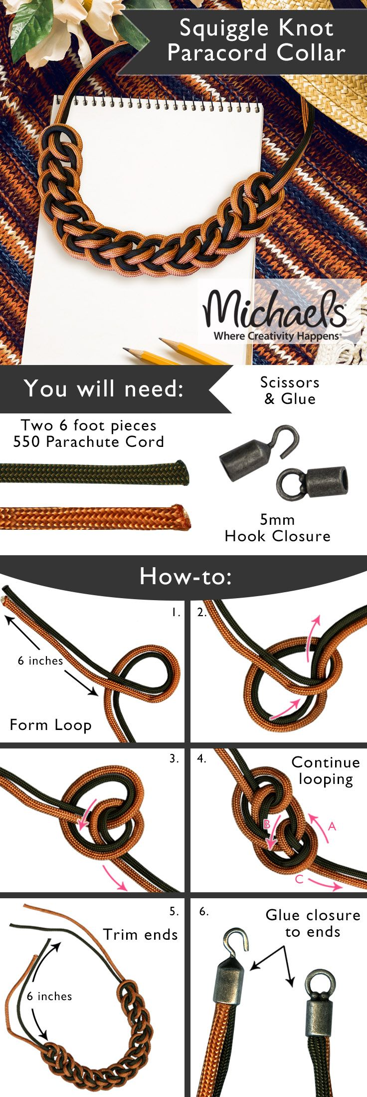 Create a stylish Paracord Collar Necklace with this easy step by step how to http://amzn.to/2ryZsCT