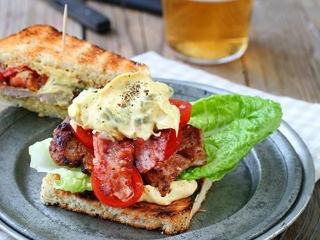 Club sandwich with pork tenderloin