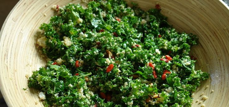 Goji Berry, Kale & Quinoa Salad  - starting a cancer fighting diet to help my body fight the cancer!