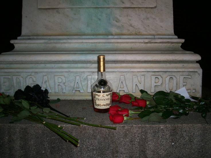 Poe's grave withCognac
