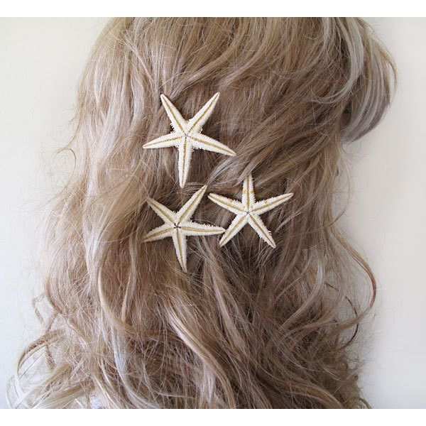Starfish Pins, Starfish Hair Accessories, Beach Hair... (265 ZAR) ❤ liked on Polyvore featuring accessories, hair accessories, hair, pictures and starfish hair accessories