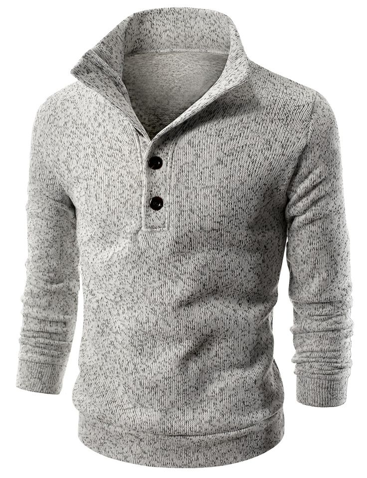 Doublju Mens Mock Neck Fleece Lined Sweater Pullover (KMOSWL061) #doublju