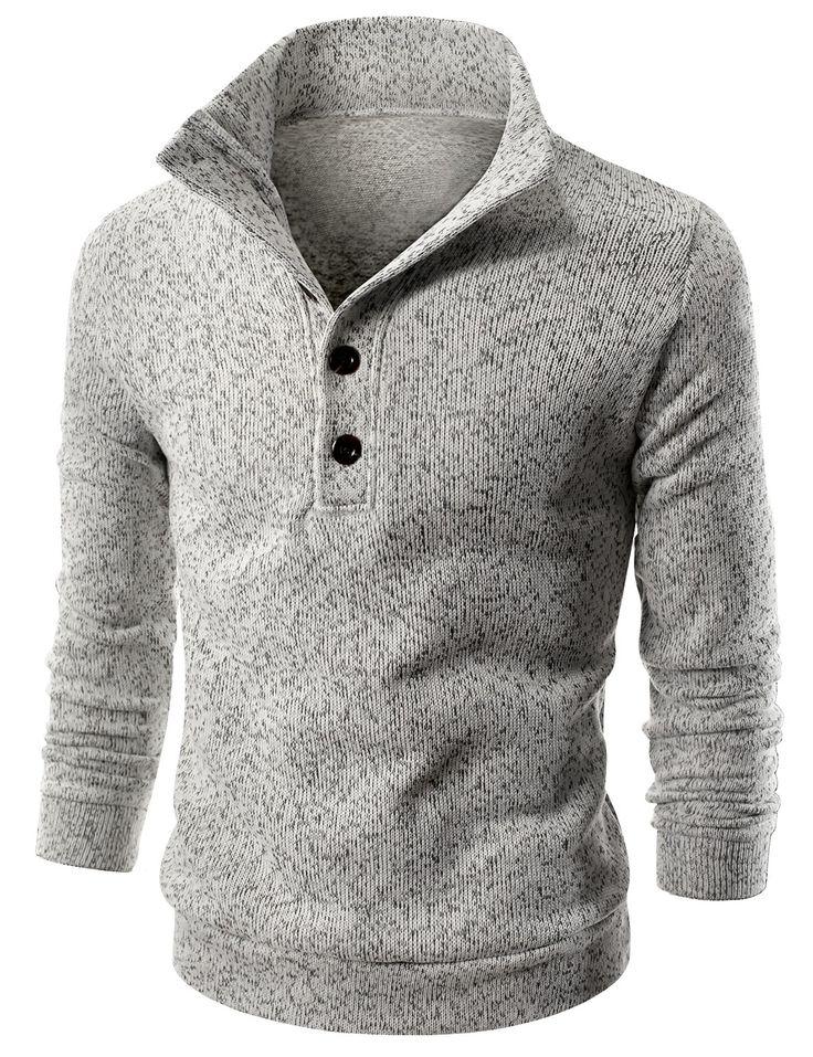 Doublju Mens Mock Neck Fleece Lined Sweater Pullover (KMOSWL061) #doublju