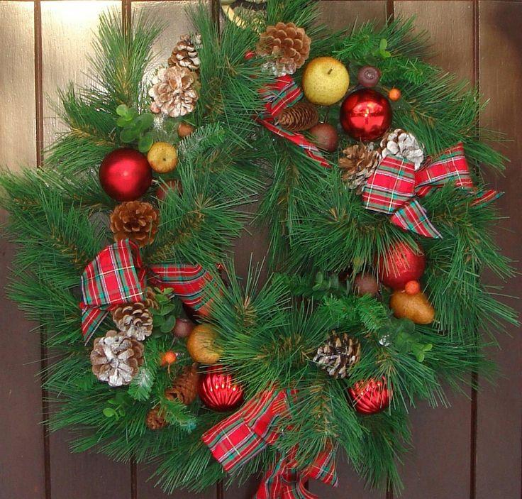 Christmas door wreaths looking good!