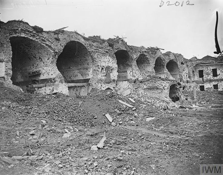 WWI, 27 August 1917; Ruins of the army barracks at Ypres. Battle of Passchendaele. ©IWM Q 5948