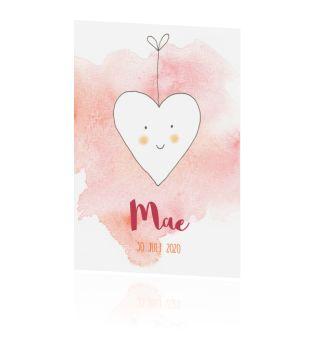 Geboortekaartje meisje hart op aquarel super lief en schattig