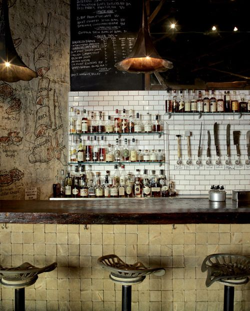 Love the stools, lighting, drawings on the wall and subway tiles. For my bakery one day.