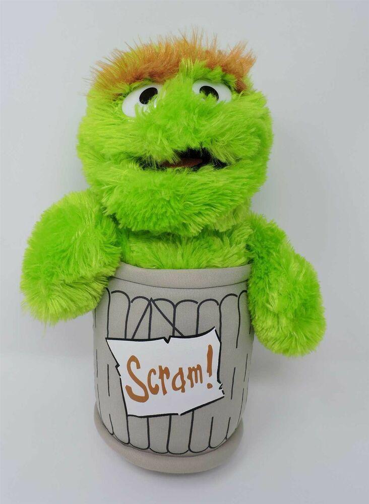 Sesame Street Oscar The Grouch Plush In Trash Can Scram 14