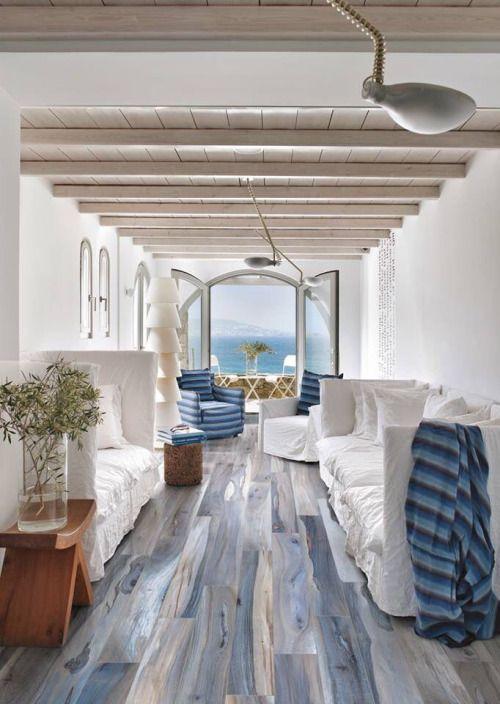 White-washed blue floors