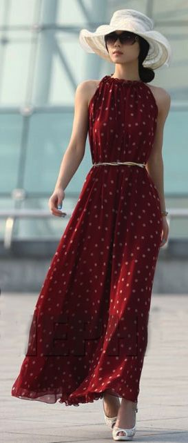 Long maxi dress. Perfect look for a day out on the town! The crisp white hat! Is to die for ! I have a black one and a larger white one for the pool , looks like I need to invest in a medium one now :)