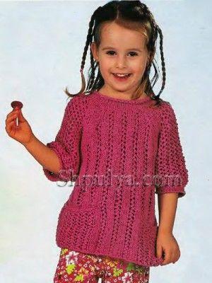 Розовый ажурный пуловер для девочки, вязаный спицами