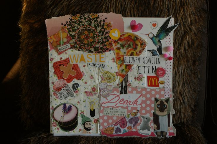 Random photo's out of magazines and cute papers to make it adorable, very fun to do with friends on a rainy afternoon