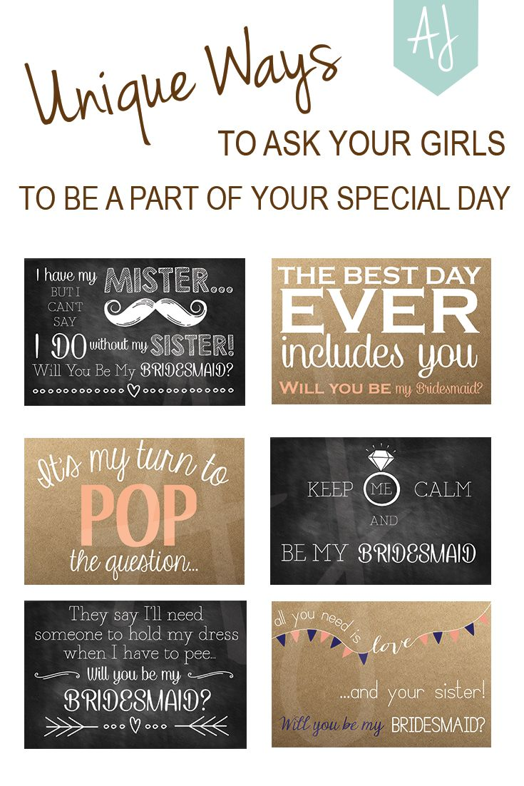 Ask your girls to be a part of your special day with a special card! Printable cards for the bridesmaids, sister of the bride, maid of honour, and matron of honour all available. Chalkboard and rustic cards
