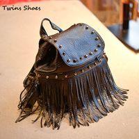 2015 детей рюкзаки для девочек бахрома ремне черный рюкзаки чемоданы мальчиков студент fahion рюкзак сумки