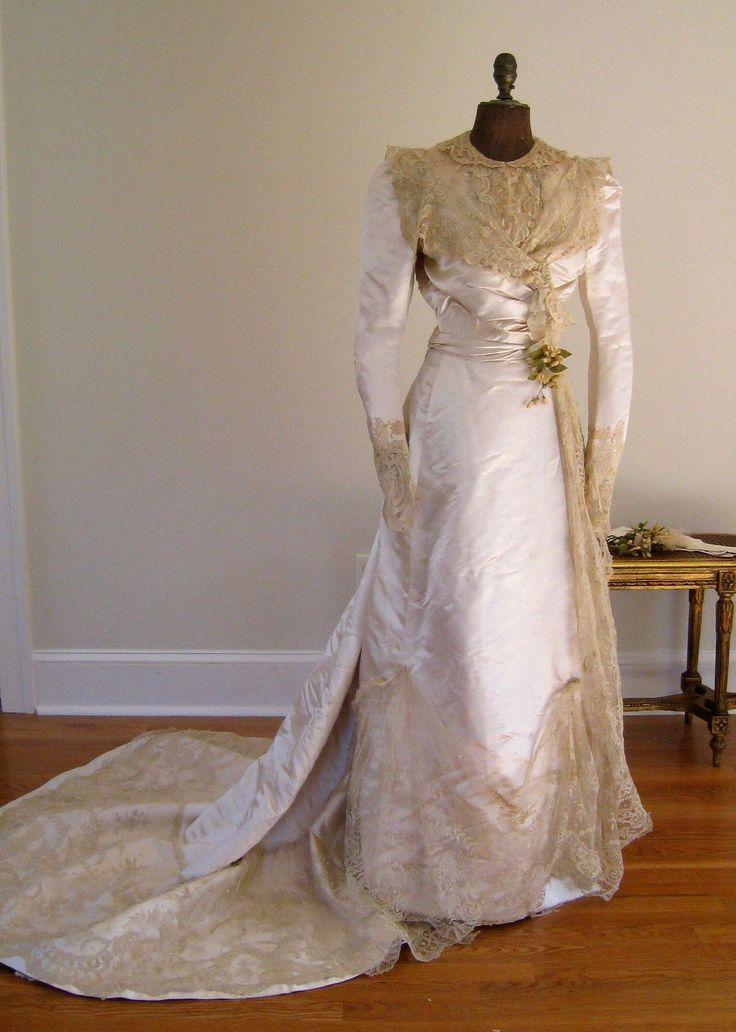 Edwardian Wedding Dress Henri Bendel C1905 Silk Brussels Lace Antique Gown
