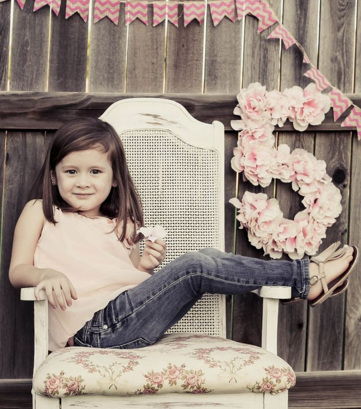 """LOVE the floral 5!!!  Easy to make with cardboard!!  Five Year Old Birthday Girl Photos - """"Blissfully Blessed"""""""