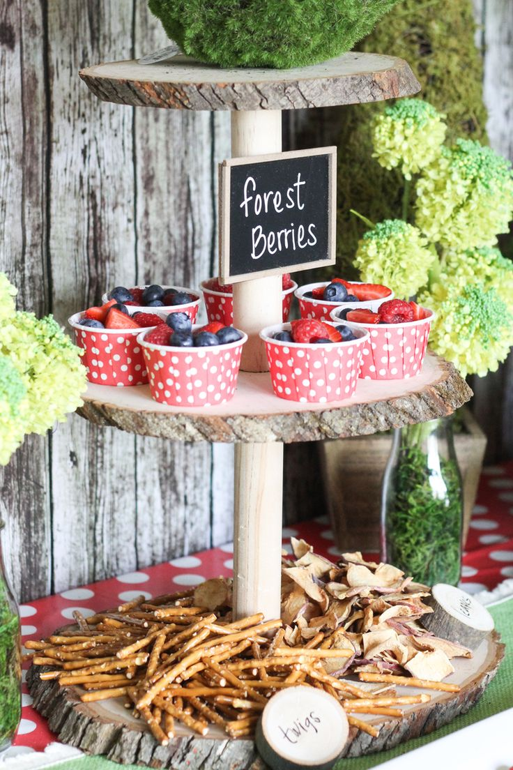 "Snack stand with pretzel ""twigs"" and apple chip ""leaves"" by Clean Eats & Treats"