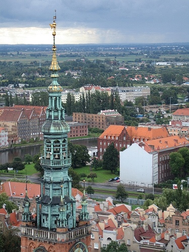 Gdansk, Poland - view of Gdansk with Old Town Hall tower from the top of St. Mary's Basilica