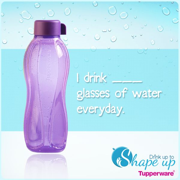 How much Water do you drink a day? Simple solution with the #Tupperware Eco Water Bottle. Stop buying water bottles. Reuse the Eco Water Bottle and save money!