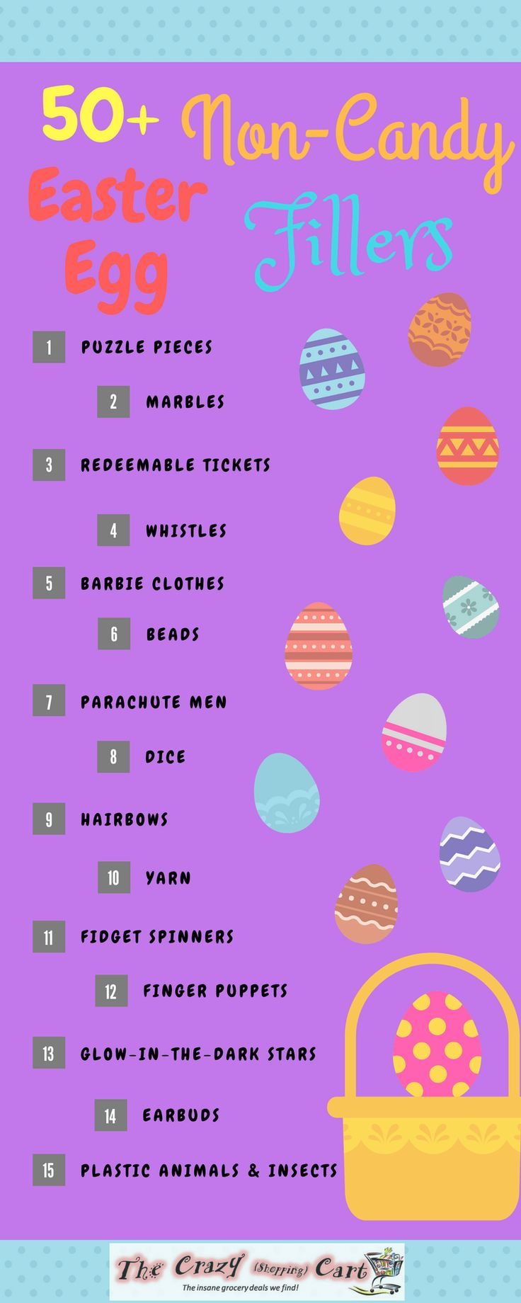 Easter is coming up!  Do you need some ideas for Easter egg fillers that aren't candy or food, but aren't extremely expensive?  This is large list of frugal Easter egg hunt prizes that are not candy or food, along with where you can purchase them at an inexpensive price!