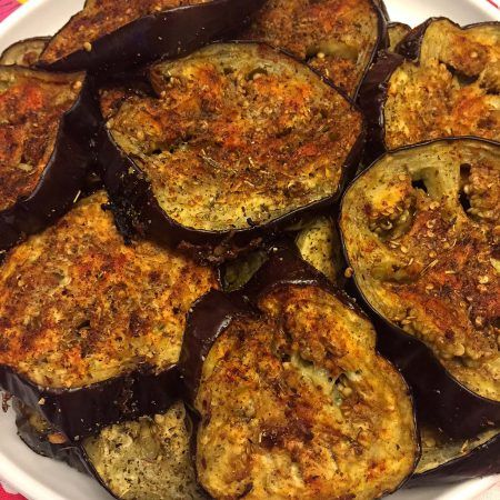 These spicy garlic eggplant slices are so delicious! Oven roasted to perfection, each bite is bursting with flavor! If I'm eating an eggplant, it just has to be a garlic eggplant! Eggplant without garlic is just not the right eggplant in my book :) This incredible eggplant is not just a garlic eggplant, it's a SPICY garlic eggplant - mmmmmm! It's so hearty, so filling, so yummy, so garlicky, so spicy, you'll just keep reaching for more and more and more! One amazing thing about eggplant is…